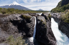Petrohue Falls and Osorno Volcano in Chile Royalty Free Stock Images