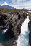 Petrohue Falls and Osorno Volcano in Chile Royalty Free Stock Photography
