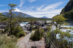 Petrohue Falls and Osorno Volcano in Chile Royalty Free Stock Image