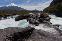 Petrohue Falls and Osorno Volcano in Chile Stock Photography