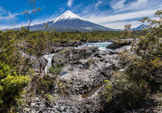 Petrohue Falls and Osorno Volcano in Chile Royalty Free Stock Photo