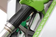 Petrol. Gaz pump green and white Stock Photo