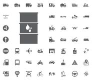 Petrol barrel icon. Liquid oil icon. Transport and Logistics set icons. Transportation set icons.  Royalty Free Stock Photography