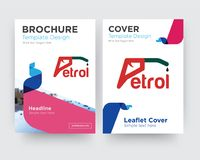 Petrol brochure flyer design template. With abstract photo background, minimalist trend business corporate roll up or annual report Royalty Free Stock Photo