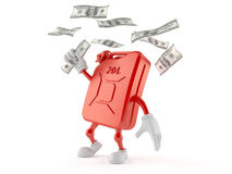 Petrol canister character catching money Royalty Free Stock Photos