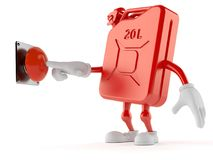 Petrol canister character pushing button. On white background Stock Photos