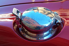 Petrol cap. Closeup of the original unrestored AC Cobra Stock Photo