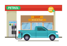 Petrol or diesel station. Vector illustrations in cartoon style. Gas station for car, building petrol station with shop vector illustration