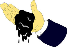 Petrol Dripping From Executive Hands. An executive hand holds a small amount of petrol and it drips from his hand Royalty Free Stock Images