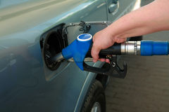 Petrol filling station. The modern car at petrol filling station stock photography