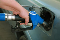 Petrol filling station. The modern car at petrol filling station royalty free stock image
