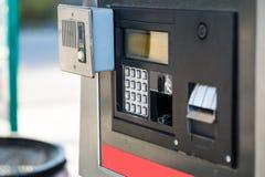 Petrol filling station. Fuel oil gasoline dispenser at petrol filling station royalty free stock images