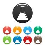 Petrol flask icons set color royalty free illustration