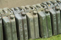 Petrol Fuel Cans. A Line of Vintage Military Metal Petrol Fuel Cans Stock Images