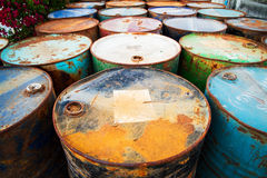 Petrol garbage in rusty tank discard form factory long time ago Royalty Free Stock Photography
