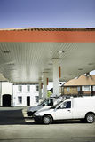 Petrol gas filling station. Vehicle parked at gas petrol filling station royalty free stock image