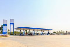 Petrol gas fuel station with sky. Petrol gas fuel station with blue sky stock images