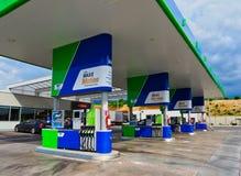 Modern MVO Petrol Station in Rural Bulgaria. Petrol or gas pumps at a modern MVO chain petrol or service station, rural Bulgaria stock photo