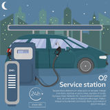 Petrol gas station concept in flat design sty. Le. Fuel and energy, pump and car, transportation industry. Vector illustration. City night landscape. Infographic Royalty Free Stock Photos