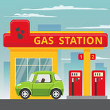 Petrol gas station concept in flat design style. Fuel and energy, pump and car, transportation industry. Vector illustration royalty free illustration