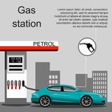 Petrol gas station concept in flat design style. Fuel and energy, pump and car, transportation industry. Vector illustration Royalty Free Stock Photography