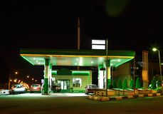Petrol gas station with night lights. Petrol gas station at night with green lights on and mini-mart royalty free stock photo