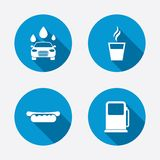Petrol or Gas station services icons. Car wash Royalty Free Stock Images