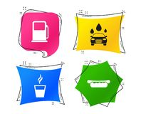 Petrol or Gas station services icons. Car wash. Vector. Petrol or Gas station services icons. Automated car wash signs. Hotdog sandwich and hot coffee cup stock illustration