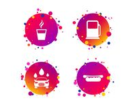Petrol or Gas station services icons. Car wash. Vector. Petrol or Gas station services icons. Automated car wash signs. Hotdog sandwich and hot coffee cup royalty free illustration