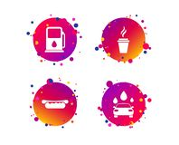 Petrol or Gas station services icons. Car wash. Vector. Petrol or Gas station services icons. Automated car wash signs. Hotdog sandwich and hot coffee cup vector illustration