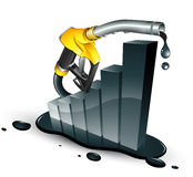 Petrol increase. Bar graph and a fuel nozzle