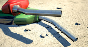 Petrol Nozzles In The Desert Stock Image