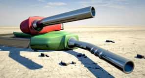 Petrol Nozzles In The Desert Royalty Free Stock Photos