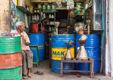 Petrol and oil shop in the middle of town. Royalty Free Stock Photo