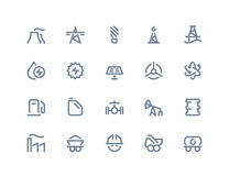 Petrol and power generation icons. Line series Stock Photos