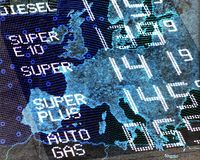 Petrol prices in Europe Stock Images