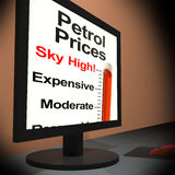 Petrol Prices On Monitor Showing Sky High Prices Royalty Free Stock Image