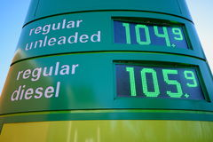 Petrol prices. At station in London, England Royalty Free Stock Photography