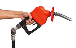 Petrol Pump. Holding A Red Petrol Pump stock images