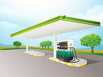 Petrol pump. Illustration of a petrol pump on a road Stock Photo