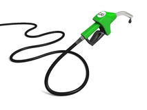 Petrol pump. Illustration of green fuel pump nozzle with oil drop  on white background Royalty Free Stock Photography