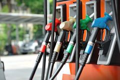 Petrol pump filling Stock Photo