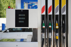 Petrol pump filling station. Petrol station and refueling machine stock photography