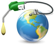 A petrol pump and a globe. Illustration of a petrol pump and a globe on a white background Royalty Free Stock Image
