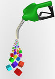 Petrol pump. Illustration of petrol pump with abstract colorful cubes Royalty Free Stock Images
