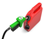 Petrol pump and jerry can. Illustration of green fuel pump nozzle and red jerry can  on white background Stock Photo