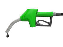 Petrol pump nozzle. Illustration of green fuel pump nozzle with oil drop isolated on white background Royalty Free Stock Image
