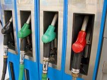 Petrol pumps. Four petrol pumps, close up Royalty Free Stock Images