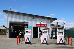 Petrol pumps outside local garage, Manapouri, NZ Royalty Free Stock Images