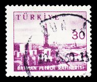 Petrol Refinery Batman, Industry and Technology serie, circa 1959. MOSCOW, RUSSIA - FEBRUARY 10, 2019: A stamp printed in Turkey shows Petrol Refinery Batman stock images